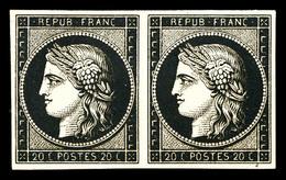 (*) N°3, 20c Noir Sur Chamois Rosé En Paire Horizontale, Nuance Rare. TB (certificats)  Qualité: (*) - 1849-1850 Ceres