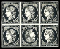 (*) N°3d, 20c Noir, Bloc De 6 Avec Tête-bêche Au Centre, Fraîcheur Postale. SUP. R.R. (signé Brun/certificats)  Qualité: - 1849-1850 Ceres