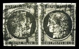 O N°3d, 20c Noir Sur Jaune En Paire Tête-bêche. TB. R. (signé Calves/certificat)  Qualité: O  Cote: 8000 Euros - 1849-1850 Ceres