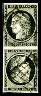 O N°3e, 20c Noir Sur Blanc En Paire Tête-bêche, R.R.R Et SUP (certificats)   Qualité: O  Cote: 9000 Euros - 1849-1850 Ceres