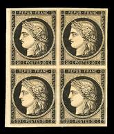 * N°3f, 20c Noir, Impression De 1862 En Bloc De Quatre (1 Ex**), Grande Fraîcheur, Très Jolie Pièce (certificat)  Qualit - 1849-1850 Ceres