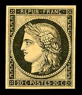 * N°3f, 20c Noir Sur Jaune Impression De 1862, TTB (certificat)  Qualité: *  Cote: 500 Euros - 1849-1850 Ceres