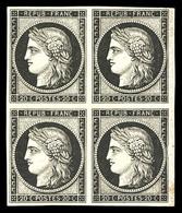 (*) N°3f, 20c Noir, Impression De 1862, Bloc De Quatre. TB (certificat)  Qualité: (*) - 1849-1850 Ceres