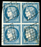 O N°4, 25c Bleu En Bloc De Quatre, Oblitération Grille Légère, Pièce Rare Et Superbe (signé Calves/certificat)  Qualité: - 1849-1850 Ceres