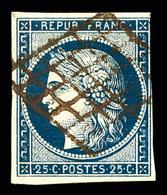 O N°4, 25c Bleu Foncé, Filet Effleuré Mais Intact, Obl GRILLE ROUGE, RARETE, SUP (signé Calves/certificat)  Qualité: O - 1849-1850 Ceres