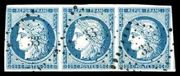 O N°4, 25c Bleu Clair, Bande De 3 Obl PC. SUP (certificat)  Qualité: O  Cote: 380 Euros - 1849-1850 Ceres