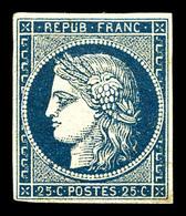 * N°4a, 25c Bleu Foncé, Grande Fraîcheur. SUP. R.R. (signé Calves/Brun/certificat)  Qualité: *  Cote: 9000 Euros - 1849-1850 Ceres