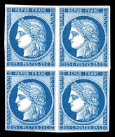 ** N°4d, 25c Bleu, Impression De 1862 En Bloc De Quatre, Fraîcheur Postale. SUP (certificat)  Qualité: ** - 1849-1850 Ceres
