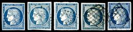 O 25c: Ensemble De 5 Exemplaires Avec Nuances Différentes, TB  Qualité: O - 1849-1850 Ceres