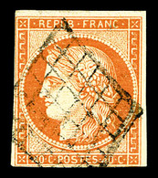 O N°5d, 40c Orange, Chiffres '4' Retouchés, Oblitération Grille. TB. R.R (signé Calves/certificats)  Qualité: O  Cote: 7 - 1849-1850 Ceres