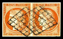 O N°5e, 40c Orange, '4' Retouché (case 147) Tenant à Normal En Paire Horizontale. SUP. R.R. (signé/certificat)  Qualité: - 1849-1850 Ceres