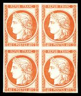 ** N°5g, 40c Orange, Impression De 1862 En Bloc De Quatre, Fraîcheur Postale. SUP (certificat)  Qualité: ** - 1849-1850 Ceres