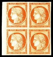 ** N°5A, 40c Orange Foncé En Bloc De Quatre Bord De Feuille Latéral, Magnifique. SUP. R.R. (signé Brun/certificat)  Qual - 1849-1850 Ceres