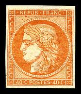 * N°5A, 40c Orange Foncé, Quatre Belles Marges, Très Frais. TTB (signé Mayer/certificat)  Qualité: *  Cote: 3600 Euros - 1849-1850 Ceres