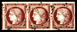 O N°6, 1f Carmin, Bande De 3 Oblitération Légère, Grandes Marges Avec Voisin. SUP (signé Brun/certificat)  Qualité: O - 1849-1850 Ceres