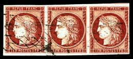 O N°6, 1F Carmin, Bande De Trois Obl Grille Sans Fin, Belles Marges. SUP. R. (signé Calves/certificat)  Qualité: O  Cote - 1849-1850 Ceres
