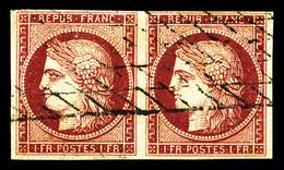 O N°6, 1F Carmin En Paire Horizontale, Oblitération Grille Légère, Grande Fraîcheur, TB (signé/certificat)  Qualité: O   - 1849-1850 Ceres