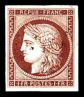 O N°6, 1F Carmin Oblitération Gros Points Légère, Quatre Belles Marges. TTB (signé Calves/certificat)  Qualité: O - 1849-1850 Ceres