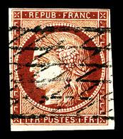 O N°6, 1F Carmin Obl Grille Sans Fin. TTB (signé Scheller/certificat)  Qualité: O  Cote: 975 Euros - 1849-1850 Ceres