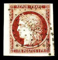 O N°6a, 1f Carmin Clair Bord De Feuille Obl Pc Légère, Grandes Marges. SUP. R. (signé Brun/certificat)  Qualité: O - 1849-1850 Ceres