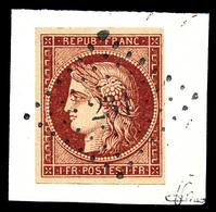 O N°6A, 1F Rouge-brun Obl PC '231' Sur Son Support. SUPERBE. R. (signé Scheller/certificat)  Qualité: O  Cote: 3000 Euro - 1849-1850 Ceres