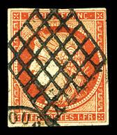 O N°7, 1F Vermillon, Oblitération Grille, Jolie Pièce. TB. R.R (certificats)  Qualité: O  Cote: 21000 Euros - 1849-1850 Ceres