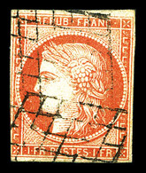 O N°7, 1F Vermillon, Filet Effleuré, Léger Pelurage, Oblitération Légère. R. (signé Calves/certificat)  Qualité: O  Cote - 1849-1850 Ceres