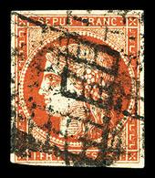 O N°7a, 1F Vermillon Vif, Oblitération Grille, Rare Et Très Beau (signé Calves/Brun/certificat)  Qualité: O  Cote: 26500 - 1849-1850 Ceres