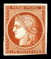 (*) N°7B, 1F Vermillon Terne Foncé, Léger Pelurage, Provenant De La Collection Lafayette (lot N°76), Très Belle Nuance.  - 1849-1850 Ceres
