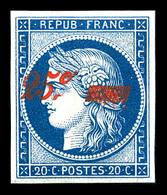 ** N°8A, Non émis, 25c Sur 20c Bleu, Quatre Belles Marges, Fraîcheur Postale. SUPERBE. R.R.R. (certificat)  Qualité: ** - 1849-1850 Ceres