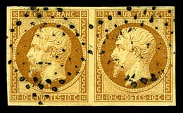 O N°9, 10c Bistre-jaune En Paire Horizontale, TTB (certificat)  Qualité: O  Cote: 1700 Euros - 1852 Louis-Napoleon