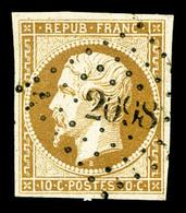 O N°9, 10c Bistre-jaune, Obl PC, TB (signé Calves/certificat)  Qualité: O  Cote: 800 Euros - 1852 Louis-Napoleon