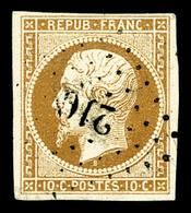 O N°9, 10c Bistre-jaune, Obl PC, TB (signé/certificat)  Qualité: O  Cote: 800 Euros - 1852 Louis-Napoleon