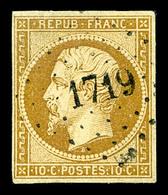 O N°9, 10c Bistre-jaune, Obl PC, TB (signé Scheller/certificat)  Qualité: O  Cote: 800 Euros - 1852 Louis-Napoleon