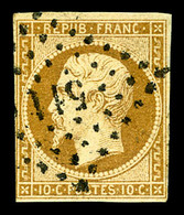 O N°9a, 10c Bistre-brun Obl PC, TB (signé Scheller/certificat)  Qualité: O  Cote: 950 Euros - 1852 Louis-Napoleon