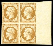 ** N°9e, 10c Bistre Jaune, Impression De 1862 En Bloc De Quatre Bord De Feuille Latéral (1ex*), Fraîcheur Postale. SUP.  - 1852 Louis-Napoleon