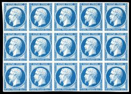 ** N°10c, 25c Bleu, Impression De 1862 En Bloc De 15 Exemplaires (2ex*), Fraîcheur Postale. SUPERBE. R.R. (certificat)   - 1852 Louis-Napoleon
