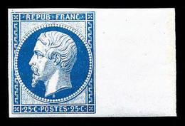 * N°10c, 25c Bleu, Impression De 1862, Grand Bord De Feuille Latéral, Grande Fraîcheur, SUP (certificat)  Qualité: *  Co - 1852 Louis-Napoleon