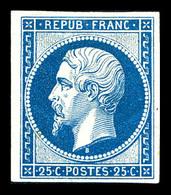 * N°10c, 25c Bleu, Impression De 1862, Frais. TB (certificat)  Qualité: *  Cote: 600 Euros - 1852 Louis-Napoleon
