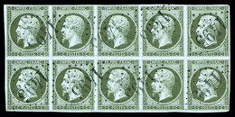 O N°11, 1c Olive En Bloc De 10 Exemplaires Oblitération GC '1495', RARE Et SUPERBE (certificat)   Qualité: O - 1853-1860 Napoleon III
