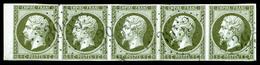 O N°11, 1c Olive, Bande De 5 Bord De Feuille. PIECE CHOISIE. SUP (signé Calves/certificat)  Qualité: O  Cote: 950 Euros - 1853-1860 Napoleon III