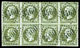 O N°11, 1c Olive En Bloc De Huit Obl GC 3460, Pli En Marge Hors Timbres, Jolie Pièce. TB (signé Brun/certificat)  Qualit - 1853-1860 Napoleon III