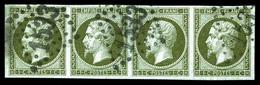 O N°11, 1c Olive En Bande De Quatre. TB (signé Calves)  Qualité: O  Cote: 660 Euros - 1853-1860 Napoleon III
