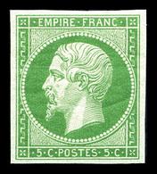 ** N°12, 5c Vert, Quatre Belles Marges, Fraîcheur Postale. SUP (certificat)  Qualité: ** - 1853-1860 Napoleon III