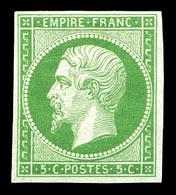 * N°12, 5c Vert, Très Frais. TTB (certificat)  Qualité: *  Cote: 1400 Euros - 1853-1860 Napoleon III