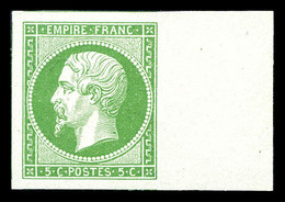 (*) N°12, 5c Vert Bord De Feuille, Grandes Marges Avec 5 Voisins. SUP (signé Calves/certificat)  Qualité: (*) - 1853-1860 Napoleon III