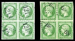 O N°12, 5c Empire, 2 Exemplaires En Bd4 Avec Nuances Différentes. B (signés)  Qualité: O  Cote: 2500 Euros - 1853-1860 Napoleon III