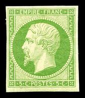 * N°12a, 5c Vert-jaune, Bel Exemplaire, TTB (certificat)  Qualité: *  Cote: 1400 Euros - 1853-1860 Napoleon III