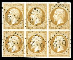 O N°13B, 10c Brun-clair Type II En Bloc De VI Obl GC, TTB (signé Brun/certificat)  Qualité: O - 1853-1860 Napoleon III