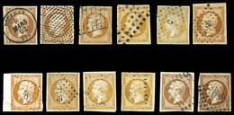 O 10c Empire, 12 Exemplaires Dont Nuances (4 Citron) Et Oblitérations. TB  Qualité: O - 1853-1860 Napoleon III
